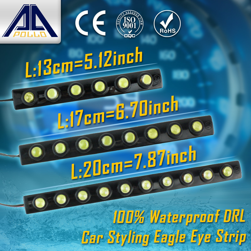 Car styling 2pcs/lot Super Bright 6/8/10 LED DRL Flexible Strip 100%Waterproof Daytime Running Light parking light Fog(China (Mainland))