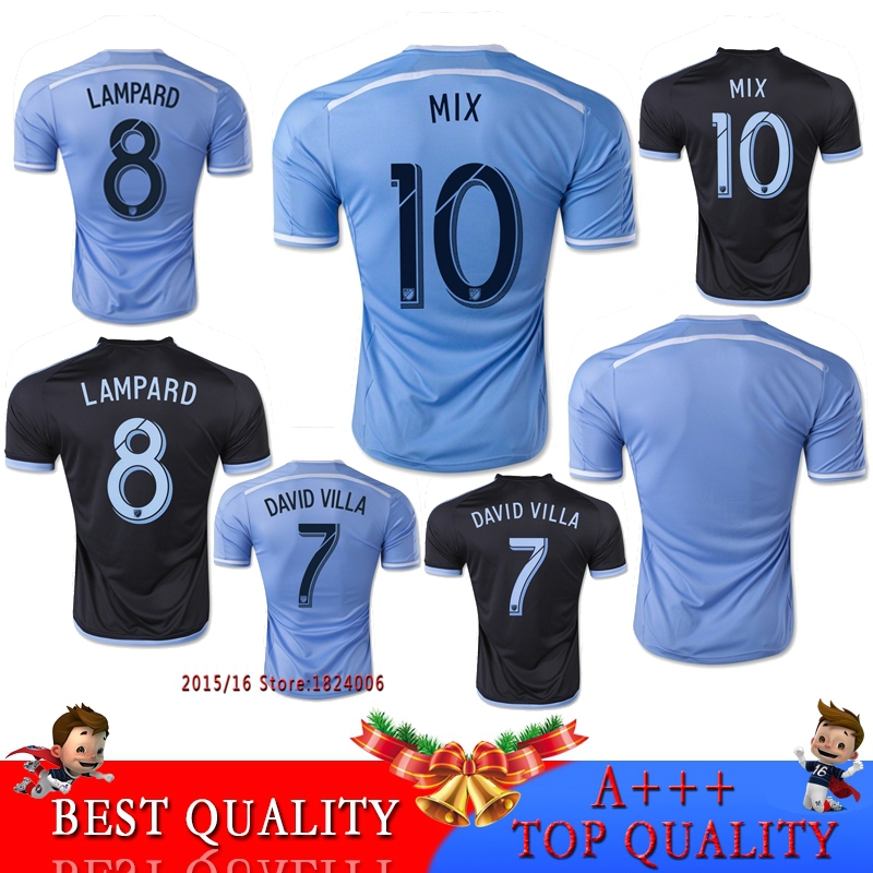 Cheap 2015/2016 New York City FC Replica Soccer Jersey DAVID VILLA LAMPARD MIX jerseys Quality Maillot Foot 2016 Football Shirts(China (Mainland))