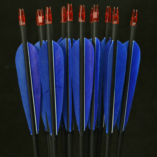 12x Carbon Arrows Turkey feather for 20-50lbs Longbow Recurve Bow Hunting Archery for 80cm Length with High Quality<br>