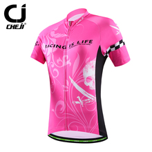 CHEJI 2016 Women Cycling Jersey Pink Short Sleeve Jersey Bike Bicycle Clothing For Spring Summer Autumn CC1528()