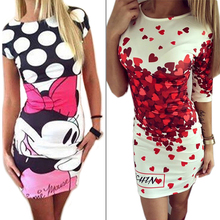 Summer Style Vestidos Robe 2016 Love Heart Cartoon Print Bodycon Dress Women Cute Outfit Party Slim Fashion Casual Dresses(China (Mainland))