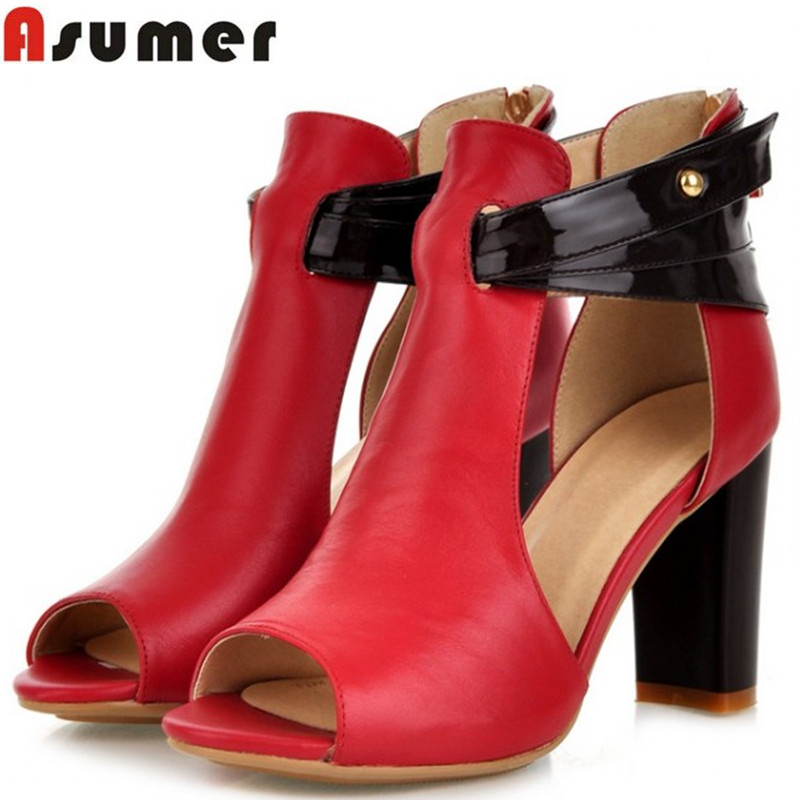 Free shipping 2014 NEW real genuine leather high heel shoes fashion peep toe footwear women sexy casual pumps sandals