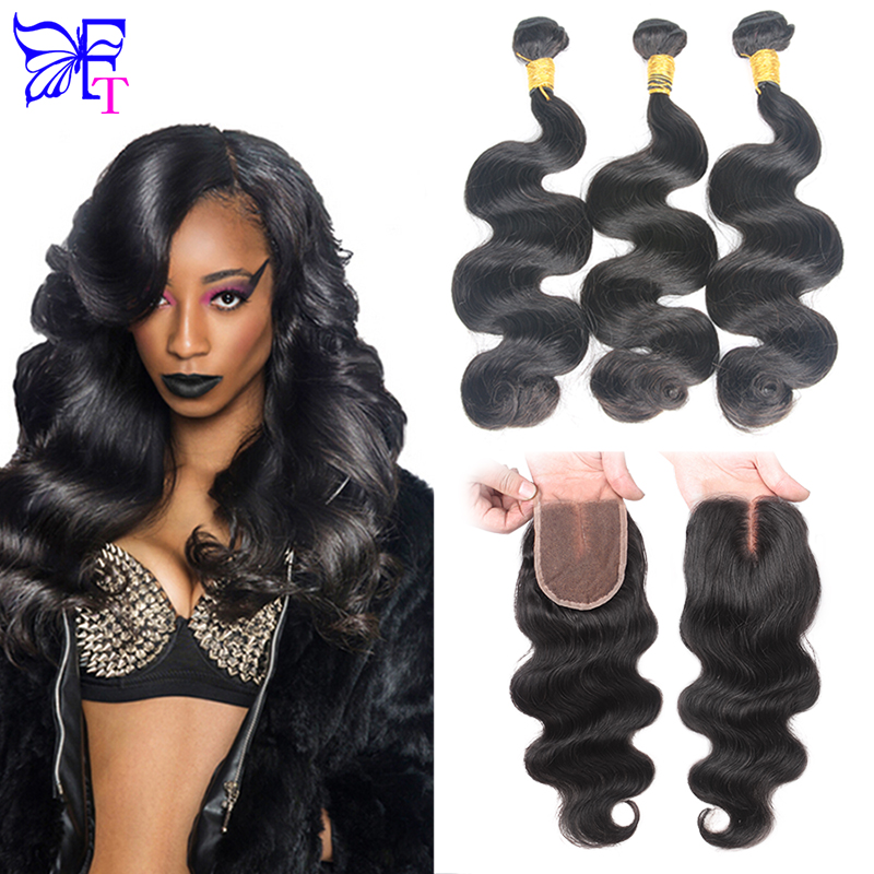 7A Malaysian Body Wave With Closure Unprocessed Malaysian Virgin Hair 3 Bundles With Lace Closures Malaysian Body Wave Free Ship