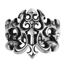Lureme Fashion Stainless Steel Man Fine Jewelry Gothic Triple Fleur De Lis Silver Black Ring for Men Vintage US size