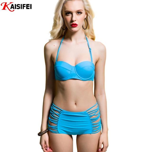 2016 новый ретро купальники высокой талией бикини на косточках росту Bikikinis женщины купальнике сексуальный пляж лучших женский купальник Biquini