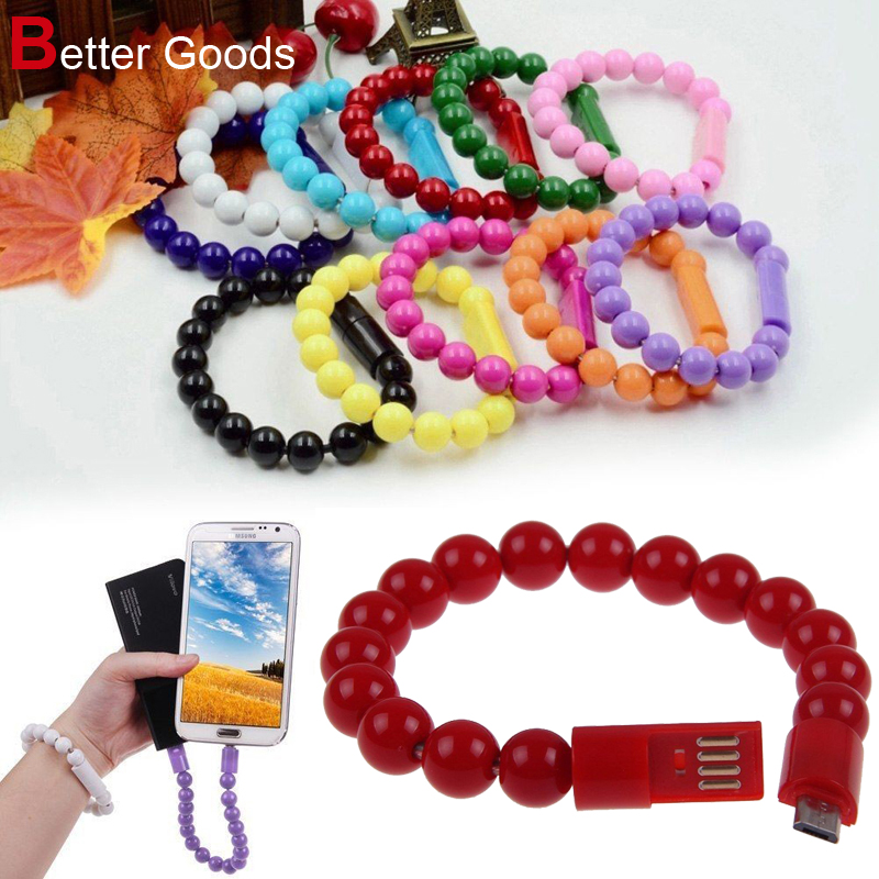 Micro USB Charger Data Cables Sync Arts Beads Prayer Bracelet for Samsung Sony HTC Xiaomi Huawei LG Meizu Android Mobile Phone(China (Mainland))