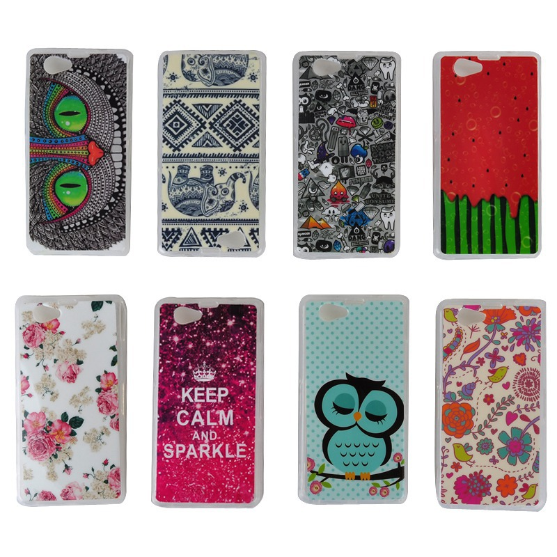 Z1 Compact Cute Cartoon OWL Birl/Flower/Floral Soft Tpu Gel Phone Cases Sony Xperia Mini Back Skin Cover Case - Best Accessory store