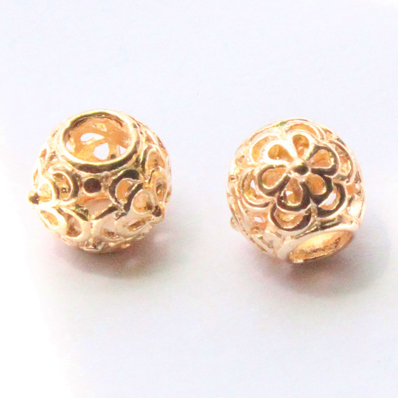 New product DIY hollow charms gold plated big hole alloy beads fit Pandora style charms bracelet finding 1pc freeshipping(China (Mainland))