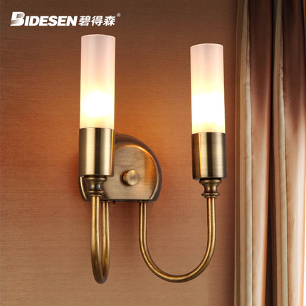 Double Heads Northern Europe Contracted Style Wrought Iron Wall Lamp Loft Bedside Light Aisle Decoration Lamp Free Shipping<br>
