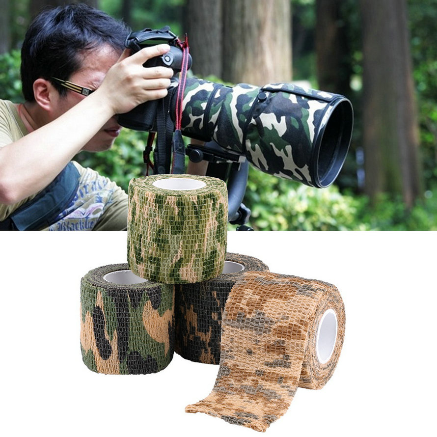 2016 Wholesale 5cmx4.5m Army Camo Outdoor Hunting Shooting Tool Camouflage Stealth Tape Waterproof Wrap Durable(China (Mainland))