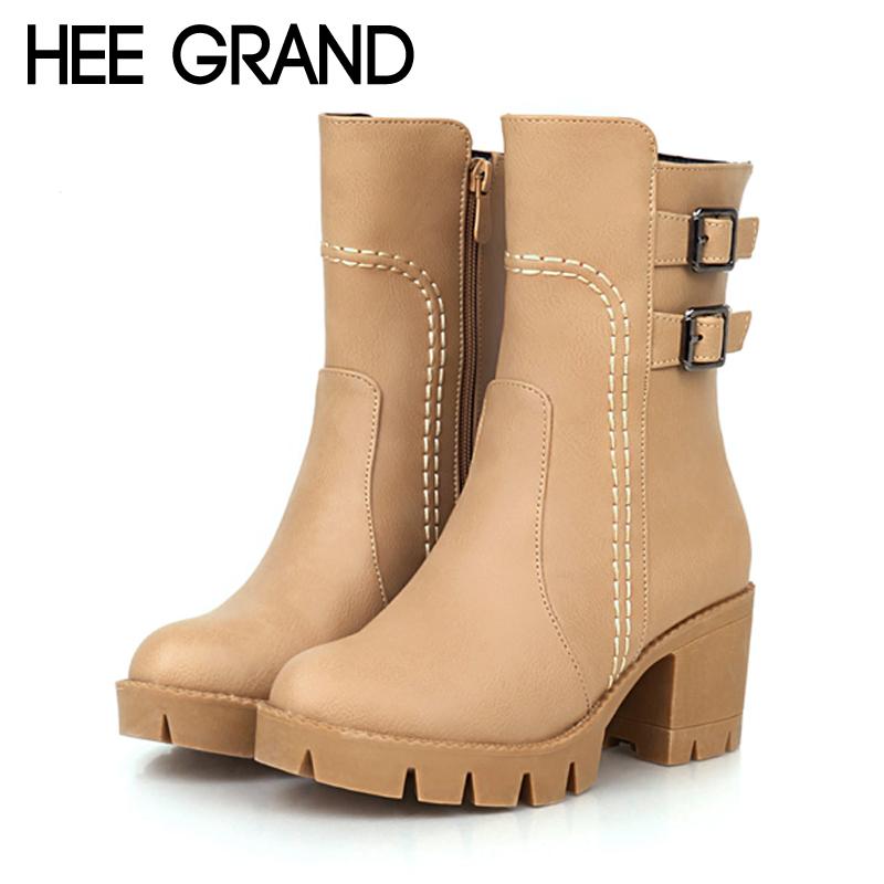 Platform Mid-Calf Boots Fashion Ladies Autumn Women Buckle Casual Low Heels Shoes Woman 3 Colors Plus Size 35-43 XWX3721