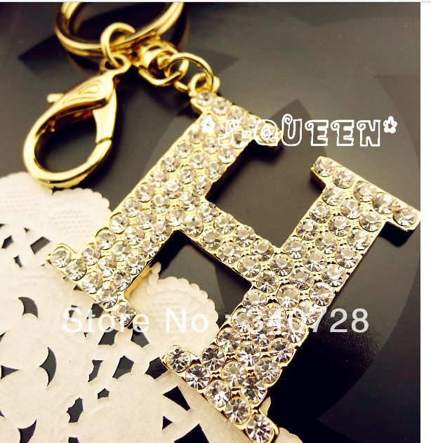 Luxury classic designer Brand with Full Rhinestone and Crystal Car keychain Key Chain and handbag pendant fasion accessories(China (Mainland))