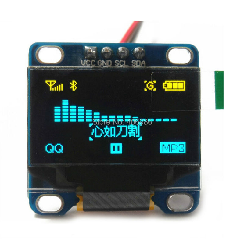 "0.96"" Inch Yellow and Blue I2C IIC OLED LCD Module Serial 128X64 LED Display for Arduino 51 MSP420 STIM32 SCR lcd display(China (Mainland))"