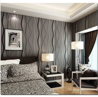 3D Modern non woven grey wave abstract stripes pattern ...