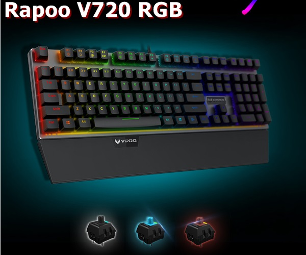 All New Rapoo V720 RGB Backlit USB Wired Ergonomic Mechanical Gaming Keyboard Computer Gaming Keyboard Black,Blue,Brown Switches(China (Mainland))