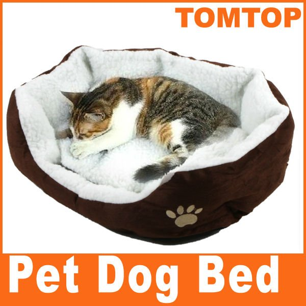 Pet Products Dog Nest Puppy Cat Soft Bed Fleece Warm House Kennel Plush Mat Coffee(China (Mainland))