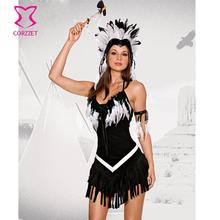 Exotic Apparel Black&White Flannel Feathers Decoration Sexy Indian Costume Cosplay Clothes Carnival Halloween Costumes For Women