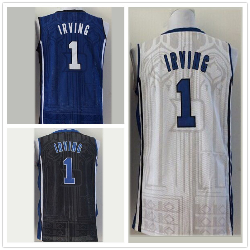 Kyrie Irving DUKE Jersey, NCAA Duke #1 Kyrie Irving Jersey Embroidery College Basketball Jersey Blue/ White/ Black Epacket Free(China (Mainland))