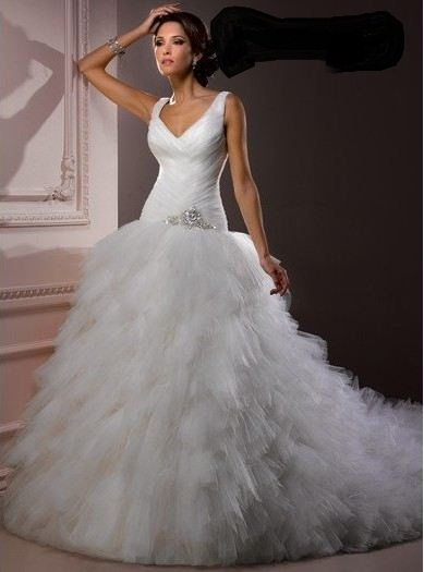 2015 Fashion Top Selling Discount Woman With Crystals Overlays Lace Up Bridal Dress With A Train Tulle Vestido De Novia(China (Mainland))