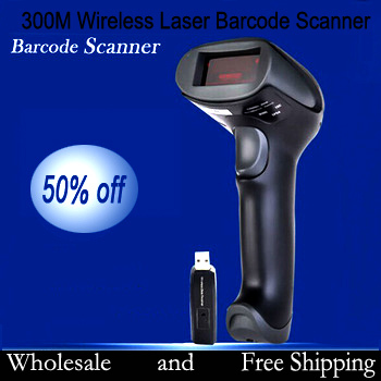 Wholesale Wireless Laser Code Barcode Scanner Hand Held Bar Code Reader Non-obstacle 300M Free Shipping(China (Mainland))
