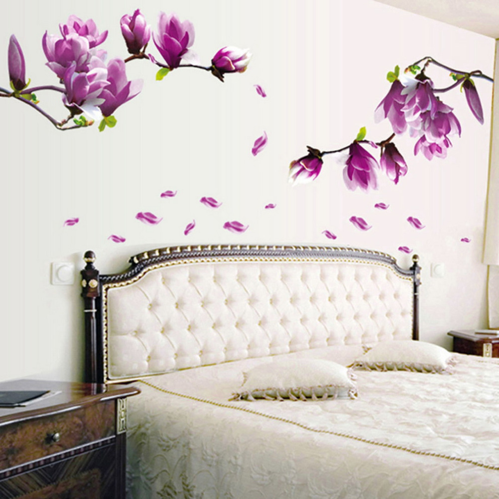 Home Decor Wall Groupings : Exquisite fashion magnolia flowers removable art vinyl