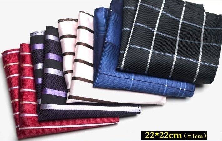 men's hand kerchief strips check pocket square henky hankie pocket towels formal wedding accessories hand towel 20 pcs/lot(China (Mainland))