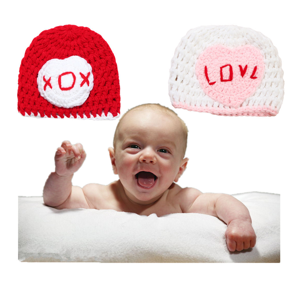 pure handmake Autumn Winter Baby kitted beanies caps Heart pattern infant photography hats skin friendly soft warm for kids girl(China (Mainland))