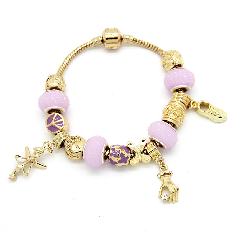 18K Gold Plated Violet Plastic Bead European Angel Dangle Charm Bracelet for Women Party PB0027(China (Mainland))