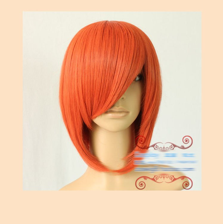 Gintama/kagura 35cm orange short straight anime cosplay costume wig hair.Synthetic heat resistance fibre.Free shipping<br><br>Aliexpress