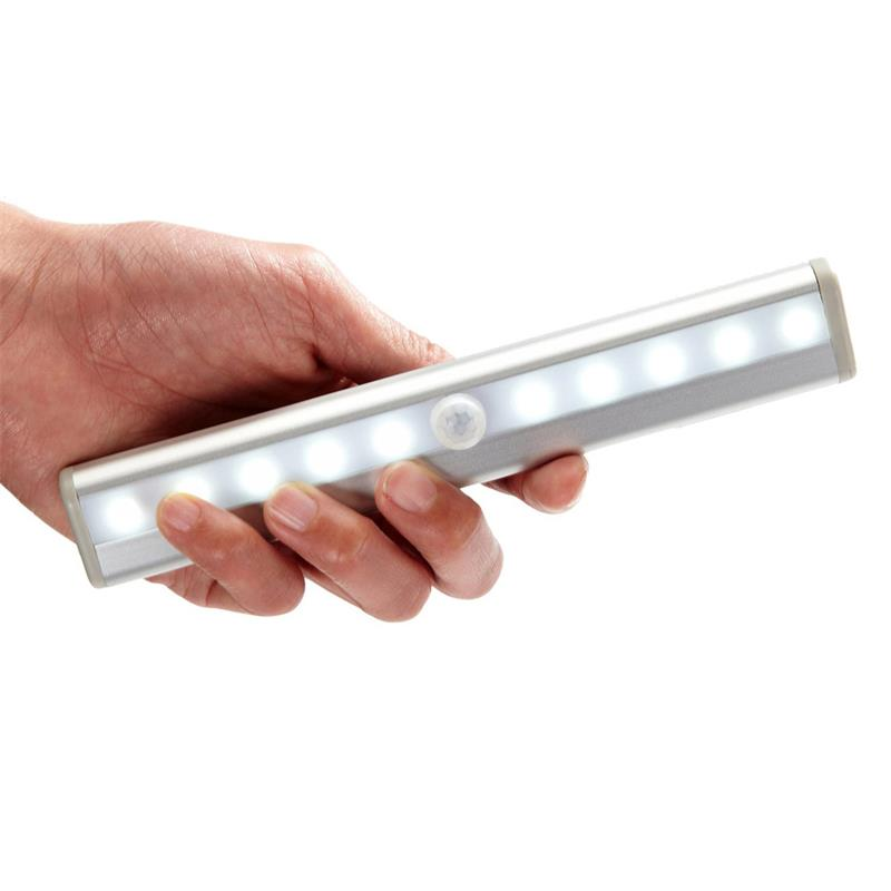 10 LED Night Lights Human IR Infrared Motion Detector Sensor Closet Lighting Portable Movable Light Strip Cabinet Lamp(China (Mainland))