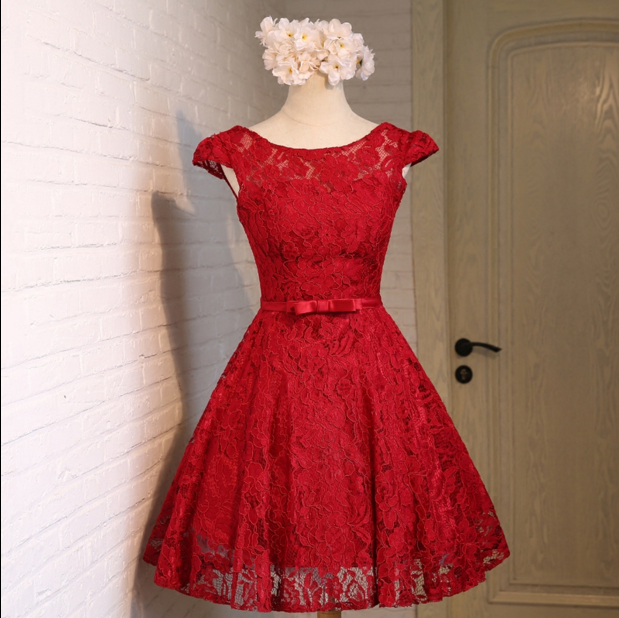 arrived fashion burgundy wine red lace short evening dress women 2016 sexy party sweet 16 dresses S3586 - I And You Story store