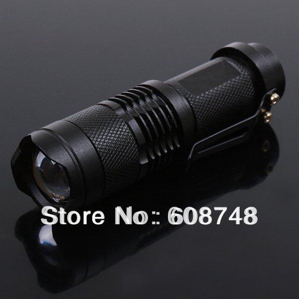 Mini 300 lm CREE Q5 LED Flashlight Torch Adjustable Focus Zoom Light Lamp Torch(China (Mainland))