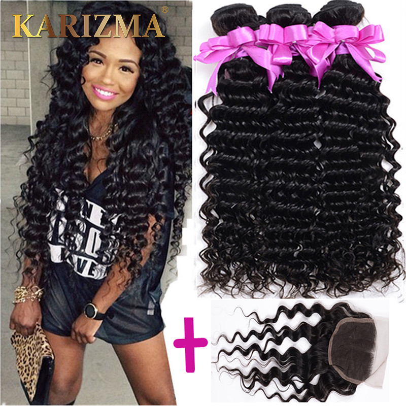 6A virgin hair brazilian deep wave closure and bundle mocha hair with closure brazilian deep curl brazilian 3bundles and closure