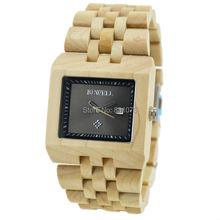 Regalo de Chirstmas plaza de la cara del medio ambiente Natural de madera del reloj para hombre regalo de la navidad 7 colores disponibles