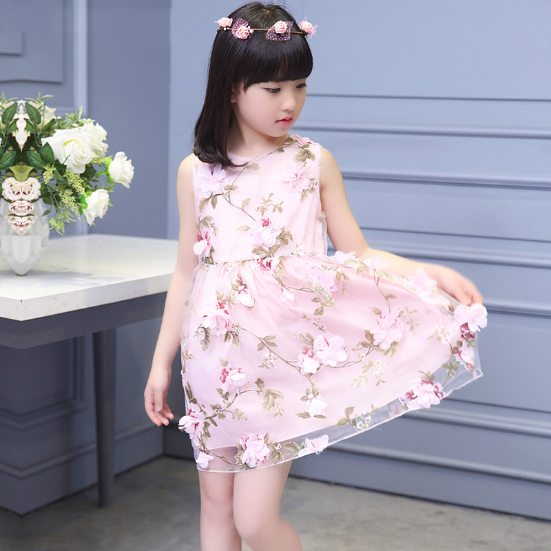 Girls clothes Floral Baby Girl Dress summer 2016 clothing Princess Children's Dresses kids Clothes vestidos infantis for teenage(China (Mainland))