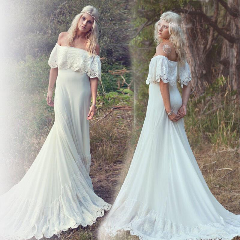 Turmec lace off the shoulder wedding dress for sale for Bohemian style wedding dresses for sale