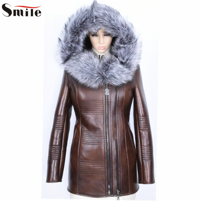 Women Long Sleeve Fashion Jacket Brown Fake Black Fur Leather Coat Female 2015 Slim Fit Leather Clothing with Hood Parka OutwearОдежда и ак�е��уары<br><br><br>Aliexpress