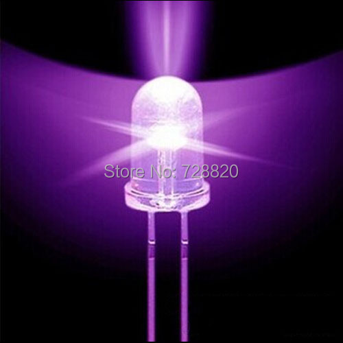 Free Shipping 5mm 395nm Ultra Bright Round UV Purple LEDs Diodes Water Clear 800-1000MCD for Mosquito Repellent(China (Mainland))