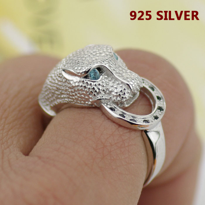 Hot Fashion High Quality 925 Sterling Silver Leopard Head Ring Fine Jewelry Inlay zircon imitation diamond For Women Men New(China (Mainland))