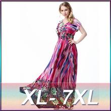 XL-7XL 2016 new plus size high-end boutique European style beach resort beach dress sexy round neck fertilizer ice silk dress