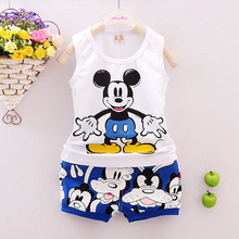 2016 new baby boy clothes set summer sleeveless cotton kid clothing set Mickey clothing set girls summer set(China (Mainland))