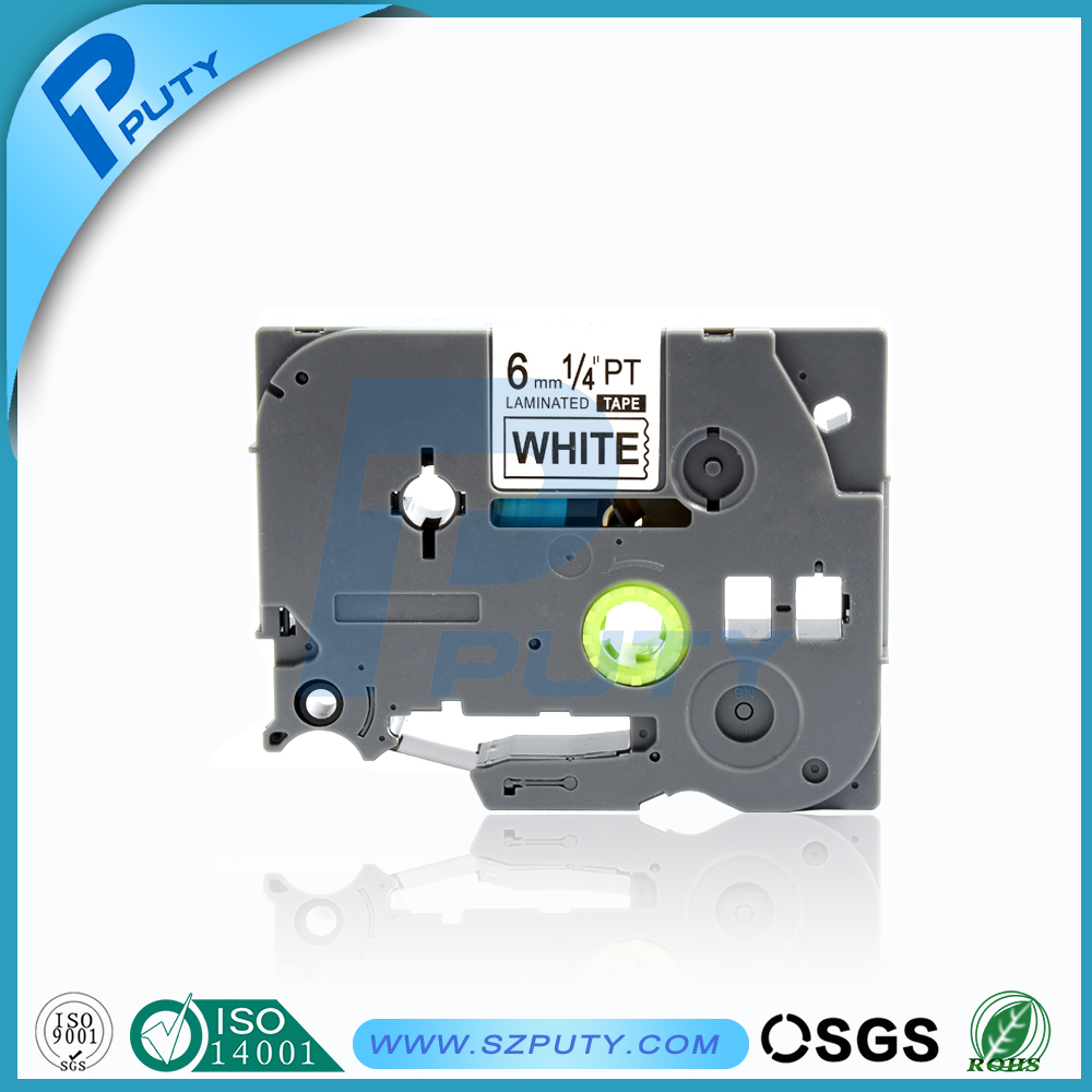 black on white compatible laminated p-touch label tape tz211 tze211 for p touch label printer tze tape 6mm<br><br>Aliexpress