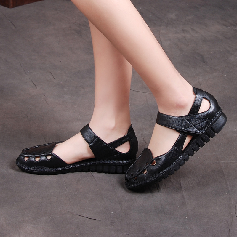 Leather Leisure Shoes Soft Bottom Slip Flat With Hook & Loop Cut-Outs Casual Middle-Aged Mother Shoes Women 2016 Summer Size 41