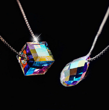 925 Sterling Silver Crystal Necklaces & Pendants For Women Rubik's Cube Star Fish Clover Necklace Sterling Silver Jewelry D117(China (Mainland))