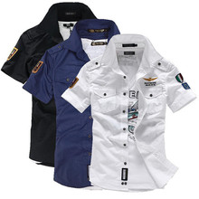 2014 NEW short sleeve shirts Fashion airforce uniform military short sleeve shirts men's dress shirt free shipping