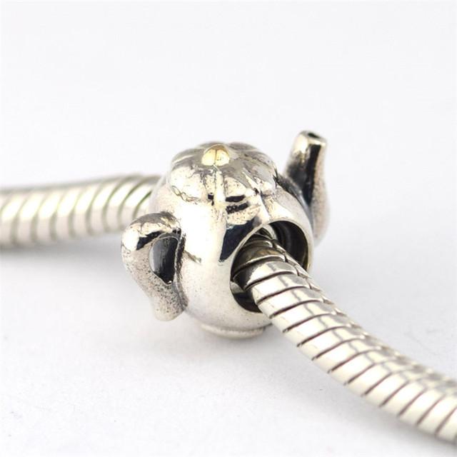 925 - серебристо-ювелирные чайник с 14 К золотой крышкой бусины Fit пандора оригинальный подвески браслеты серебро 925 ювелирных изделий DIY поиск
