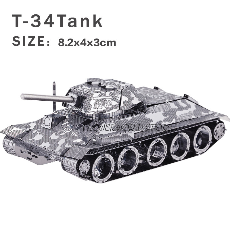 New creative Tanks 3D metal model 3D puzzles Creative DIY T-34 tanks Jigsaws Adult/Children gifts toys Retro tanks Etc.(China (Mainland))
