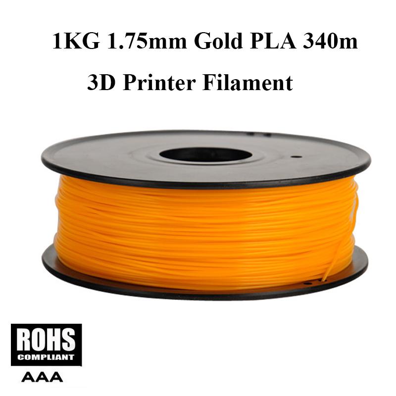 DIY 340M 3d printer filament Gold Color PLA 1.75mm Pen MakerBot RepRap plastic Rubber Consumables Material Free Shipping<br><br>Aliexpress