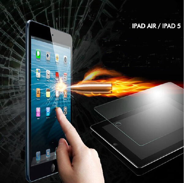 Hot Selling ! Tempered Glass Screen Protector For ipad air / 5 with Retail box Explosion Proof Clear Toughened Protective Film(China (Mainland))