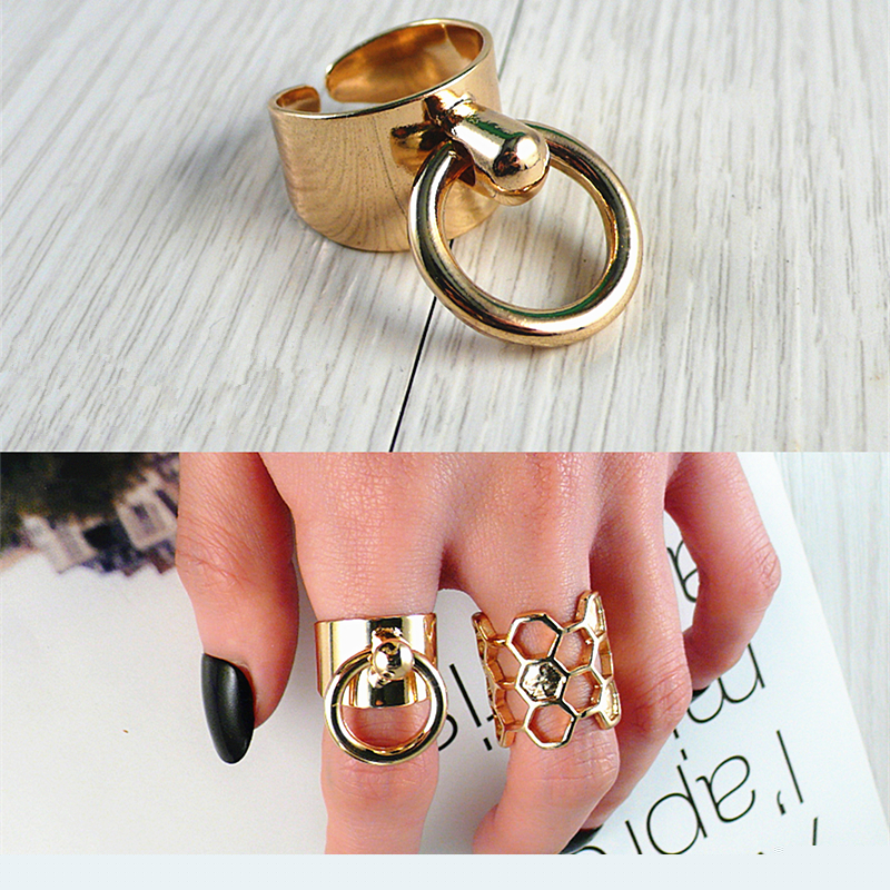 New Fashion Swing Circle Rings For Women Personality Adjustable opening Trendy Punk Ring Wholesale Jewelry Free Shipping(China (Mainland))